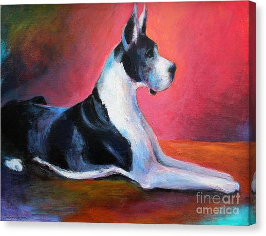 Great Danes Canvas Print - Great Dane Painting Svetlana Novikova by Svetlana Novikova