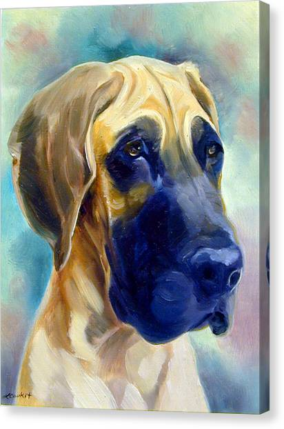 Great Danes Canvas Print - Great Dane Pup by Lyn Cook