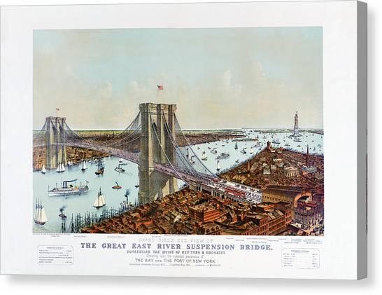 Great East River Suspension Bridge 1892 Canvas Print