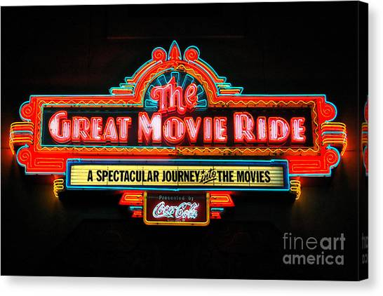 Great Movie Ride Neon Sign Hollywood Studios Walt Disney World Prints Ink Outlines Canvas Print