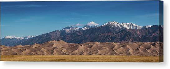 Canvas Print featuring the photograph Great Sand Dunes Panorama 3to1 by Stephen Holst
