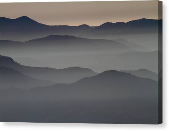 Great Smokey Mountains Shrouded In Fog Canvas Print