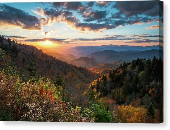 Great Smoky Mountains National Park Nc Scenic Autumn Sunset Landscape Canvas Print