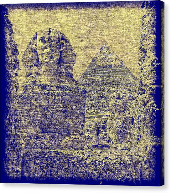Great Sphinx And Pyramid Of Khafre Canvas Print