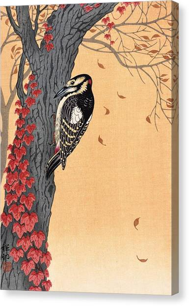 Woodpeckers Canvas Print - Great Spotted Woodpecker - Top Quality Image Edition by Ohara Koson