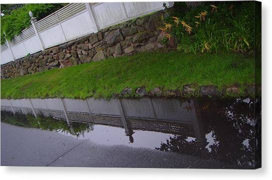 Great Wall Of Puddle Canvas Print by Ron Sylvia