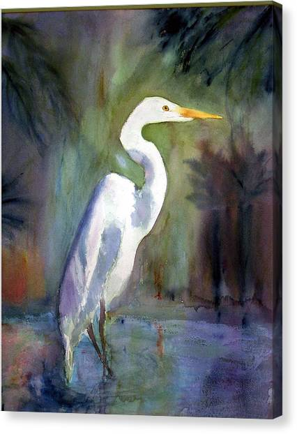 Great White Egret Canvas Print by Carol Sprovtsoff