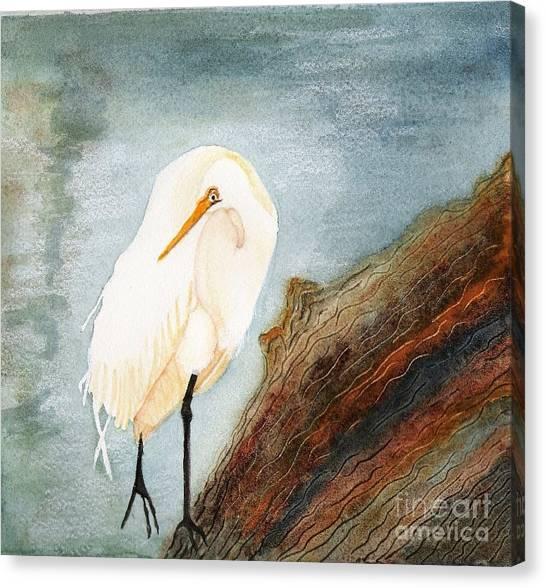 Great White Egret Canvas Print by Georgia Johnson