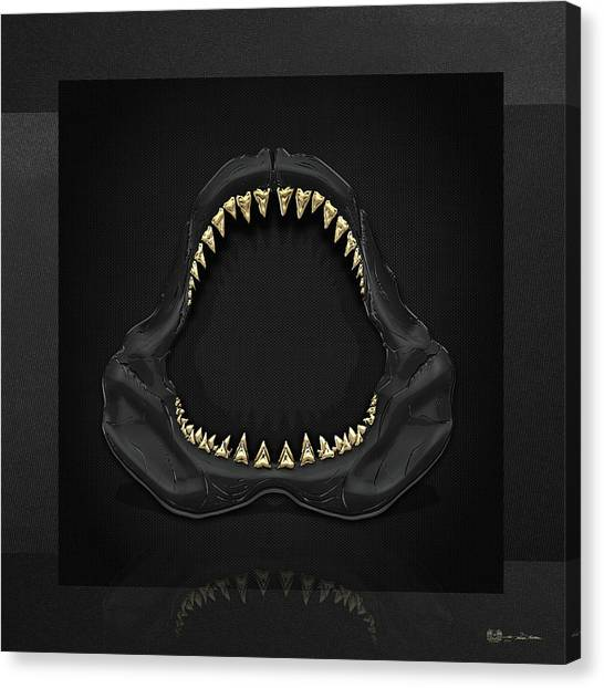 Teeth Canvas Print - Great White Shark Jaws With Gold Teeth  by Serge Averbukh