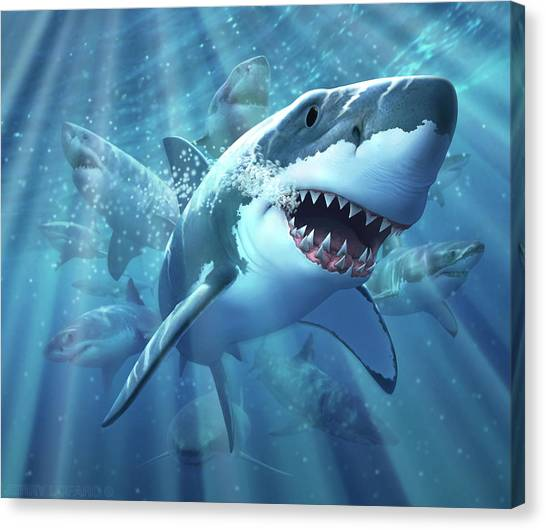 Jaws Canvas Print - Great White Shark by Jerry LoFaro