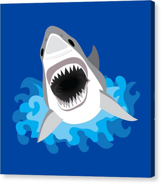 Shark Teeth Canvas Print - Great White Shark Leaps From Waves by Antique Images