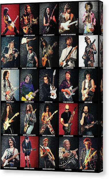 Led Zepplin Canvas Print - Greatest Guitarists Of All Time by Zapista