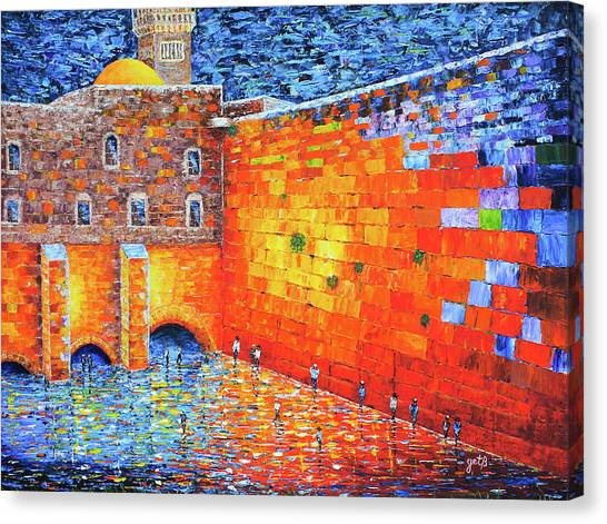 Canvas Print featuring the painting Wailing Wall Greatness In The Evening Jerusalem Palette Knife Painting by Georgeta Blanaru
