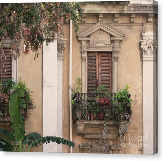 Grecian Courtyard Canvas Print