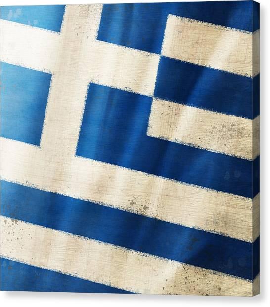 Athens Canvas Print - Greece Flag by Setsiri Silapasuwanchai