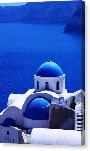Greek Blue Vertical Canvas Print by Paul Cowan