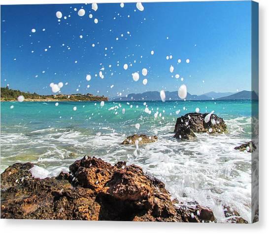Greek Surf Spray Canvas Print