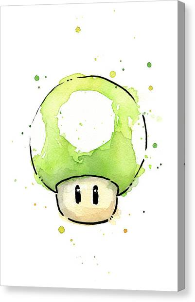 Super Mario Canvas Print - Green 1up Mushroom by Olga Shvartsur