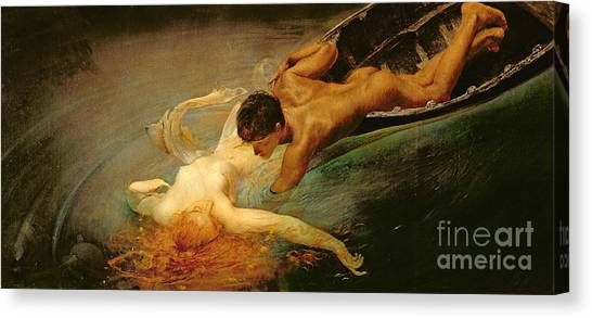 Erotic Canvas Print - Green Abyss by Giulio Aristide Sartorio