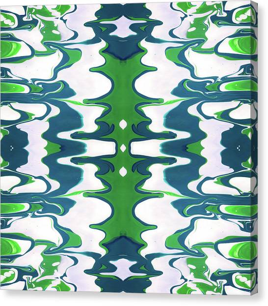 Fluids Canvas Print - Green And Blue Swirl- Art By Linda Woods by Linda Woods