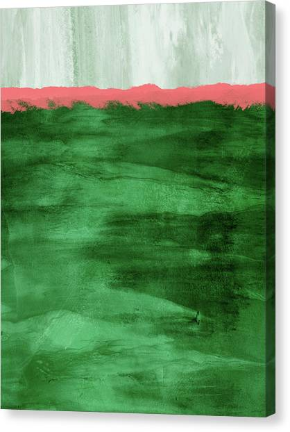 Landscape Canvas Print - Green And Coral Landscape- Abstract Art By Linda Woods by Linda Woods