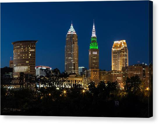 Cleveland State University Canvas Print - Green And Grey In Cleveland Ohio by Dale Kincaid