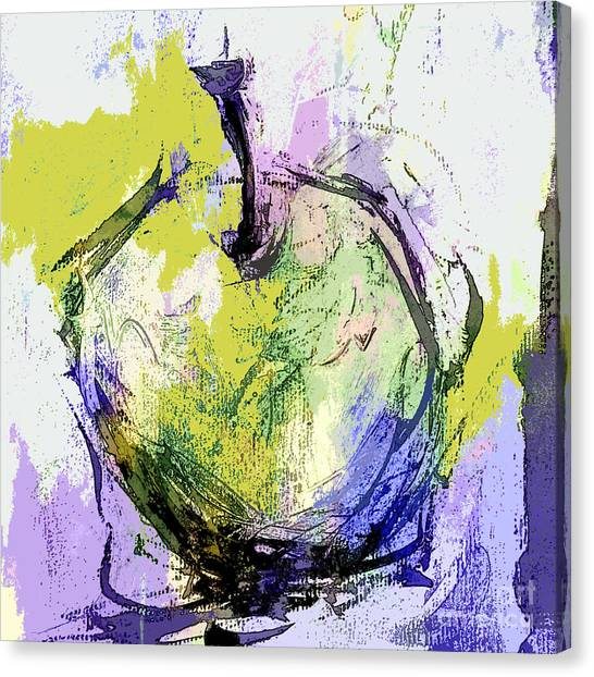 Green And Purple Apple Canvas Print