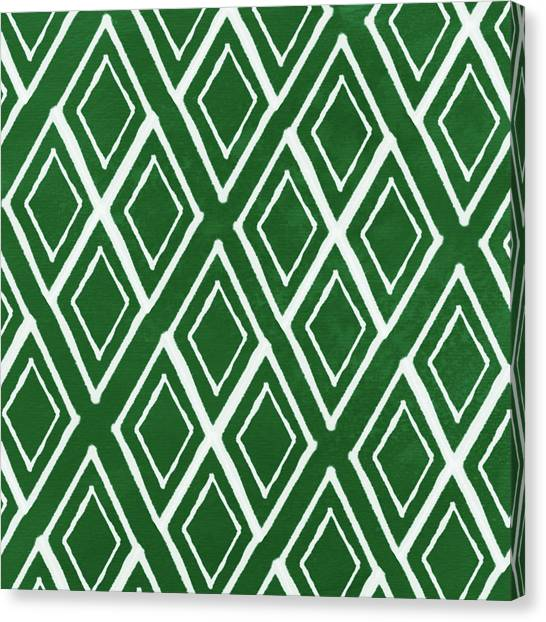 Diamond Canvas Print - Green And White Diamonds- Art By Linda Woods by Linda Woods