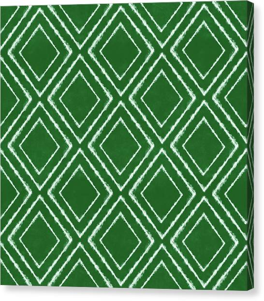 Diamonds Canvas Print - Green And White Inky Diamonds- Art By Linda Woods by Linda Woods