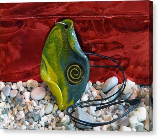 Green And Yellow Spiral Pendant Canvas Print by Chara Giakoumaki