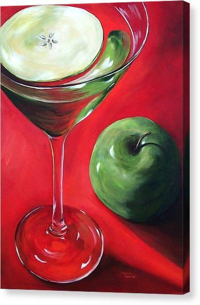 Green Apple Martini Canvas Print