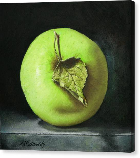 Green Apple With Leaf Canvas Print