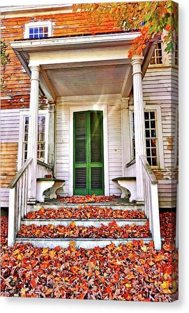 Green Autumn Door Canvas Print