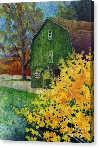 Country Roads Canvas Print - Green Barn by Hailey E Herrera
