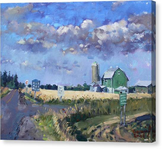 Georgetown University Canvas Print - Green Barn In Glen Williams On by Ylli Haruni
