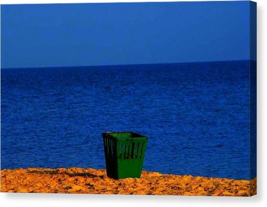 Green Basket Canvas Print