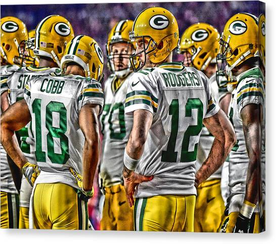 Aaron Rodgers Canvas Print - Green Bay Packers Team Art 2 by Joe Hamilton