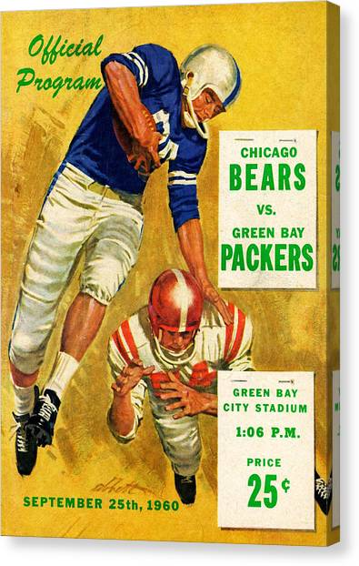 Green Bay Packers Canvas Print - Green Bay Packers Vintage Program 2 by Joe Hamilton