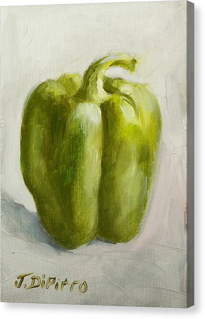 Green Bell Pepper Canvas Print by Joni Dipirro