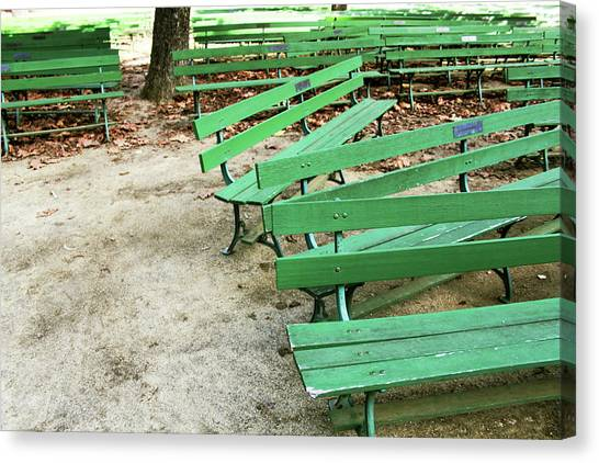 Park Benches Canvas Print - Green Benches- Fine Art Photo By Linda Woods by Linda Woods