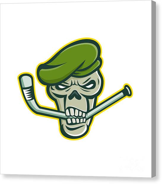 Green Berets Canvas Print - Green Beret Skull Ice Hockey Mascot by Aloysius Patrimonio