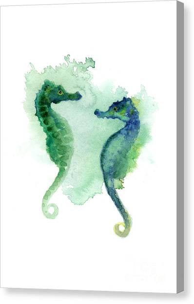 Seahorses Canvas Print - Green Blue Seahorses Watercolor Art Print by Joanna Szmerdt