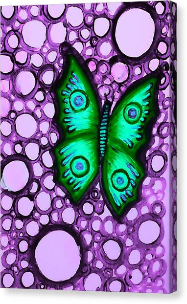 Green Butterfly II Canvas Print by Brenda Higginson