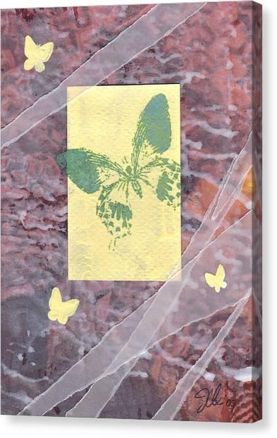 Green Butterfly Canvas Print by Jennifer Bonset