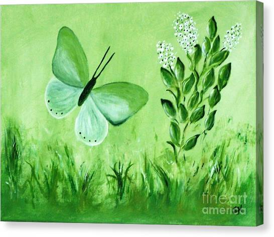 Canvas Print featuring the painting Green Butterfly by Sonya Nancy Capling-Bacle