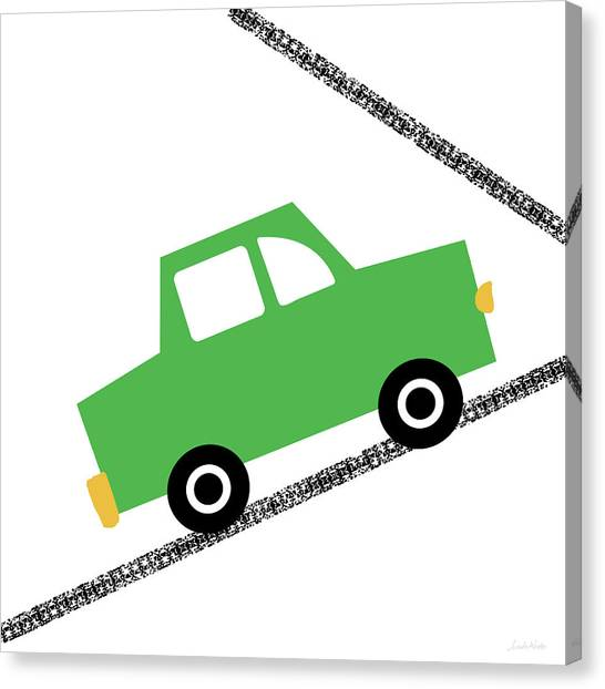 Driving Canvas Print - Green Car On Road- Art By Linda Woods by Linda Woods