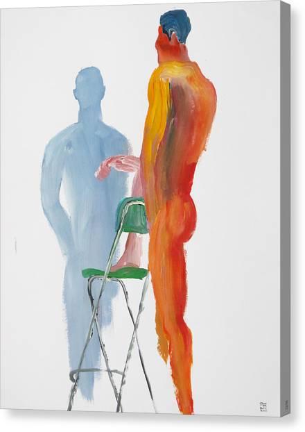 Green Chair Blue Shadow Canvas Print