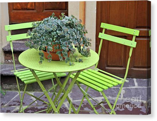 Green Chairs And Table With Plant In Pot Canvas Print by Sami Sarkis