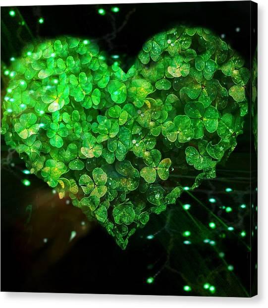 Green Clover Heart Canvas Print