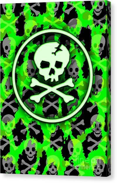 Green Deathrock Skull Canvas Print